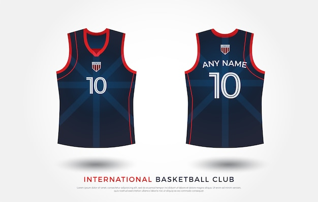Conception de t-shirt de basket-ball ensemble uniforme de kit. modèle de maillot de basketball. rouge et bleu