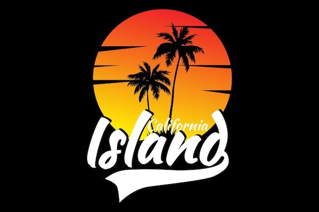 Conception de t-shirt avec le beau ciel de l'île du coucher du soleil en californie