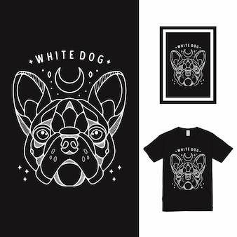 Conception de t-shirt blanc chien ligne art