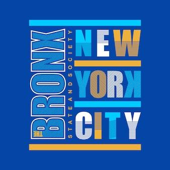 La conception de t shirt bronx typographie
