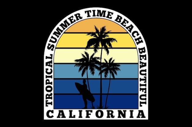 Conception de t-shirt avec la californie d'été tropicale en surf rétro