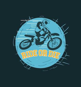 Conception de t-shirt de cavalier de vélo de montagne