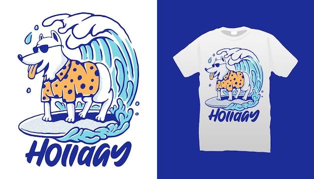 Conception De T-shirt De Chien De Surf Vecteur Premium