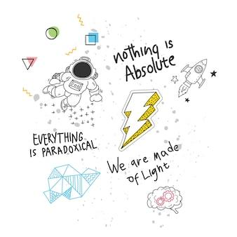 Conception de t-shirt cool dans le style de doodle avec des correctifs et des citations manuscrites