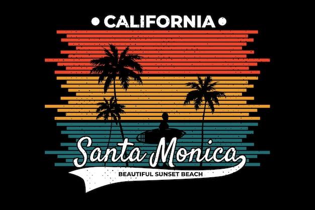 Conception de t-shirt avec le coucher du soleil de santa monica sur la plage de californie dans un style rétro