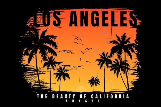 Conception de t-shirt avec coucher de soleil plage palmier californie belle