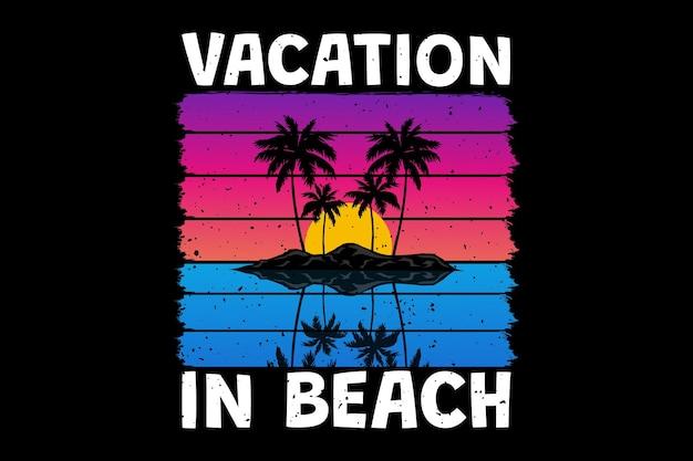 Conception de t-shirt avec coucher de soleil sur la plage de vacances magnifique dans un style rétro vintage