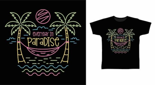 Conception de t-shirt couleurs néon dessin à la main de plage paradisiaque