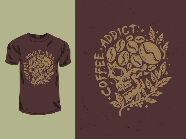 Conception de t-shirt de crâne de café addict