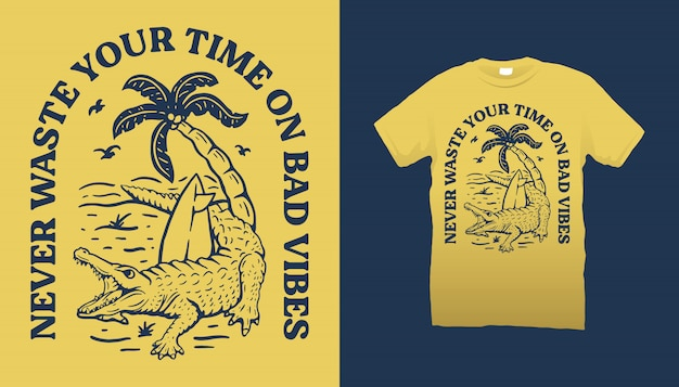 Conception de t-shirt crocodile et plage