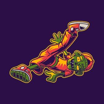Conception de t-shirt danse zombie sur le côté et illustration de break dance aux pieds