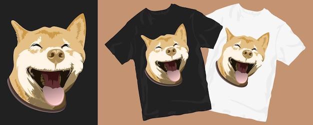 Conception de t-shirt de dessin animé de chien de sourire drôle heureux