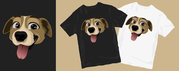 Conception de t-shirt de dessin animé drôle de chien heureux