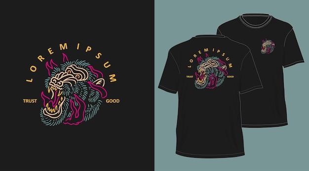 Conception de t-shirt dessiné à la main monoline singe chaman