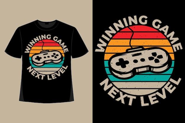 Conception de t-shirt du jeu gagnant du prochain niveau de jeu de style typographie illustration vintage rétro