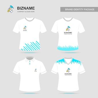 Conception de t-shirt de l'entreprise avec logo vector