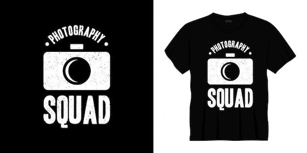 Conception de t-shirt de l'équipe de photographie typographie