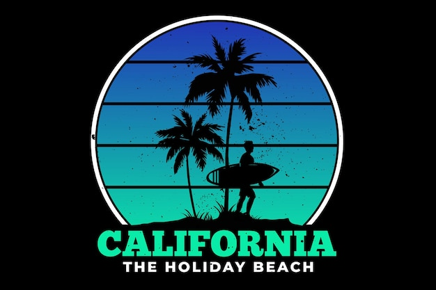 Conception de t-shirt avec été de surf de vacances à la plage de californie magnifique en rétro