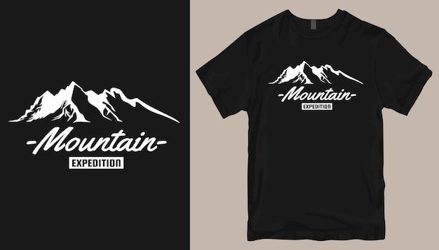 Conception de t-shirt d'expédition en montagne, conception de t-shirt d'aventure. slogan de conception de t-shirt en plein air.