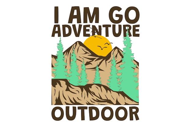Conception de t-shirt avec extérieur explorer la nature aventure montagne de pins dans un style rétro vintage dessiné à la main