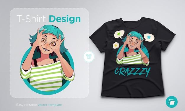 Conception de t-shirt avec une fille excitée drôle montrant des gestes corrects avec les deux mains. illustration de style anime à la mode