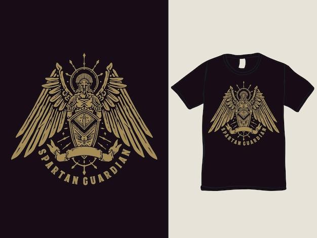 La Conception De T-shirt Gardien Spartiate Vecteur Premium