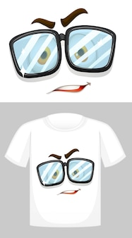 Conception de t-shirt avec graphique du visage portant des lunettes