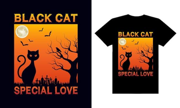 Conception de t-shirt halloween chat noir