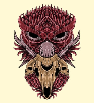 Conception de t-shirt hibou dessiné à la main avec décoration isolée de style de gravure d'ornement de crâne