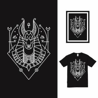 Conception de t-shirt horus line art