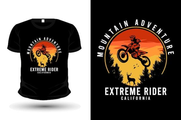 Conception de t-shirt d'illustration de cavalier extrême d'aventure en montagne