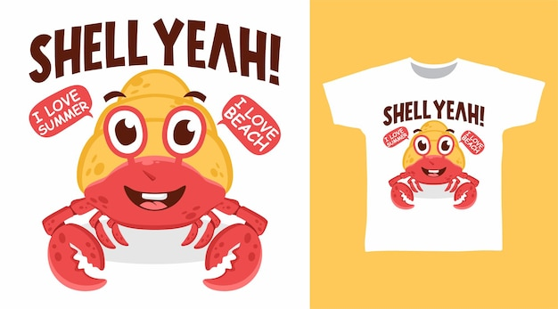 Conception de t-shirt illustration de crabe ermite mignon
