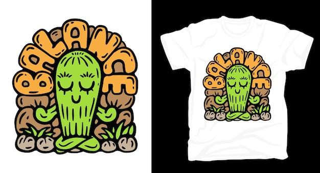 Conception de t-shirt illustration dessinée à la main de cactus