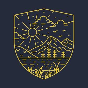 Conception de t-shirt illustration graphique de broche de badge de ligne de rivière de montagne sauvage aventure nature