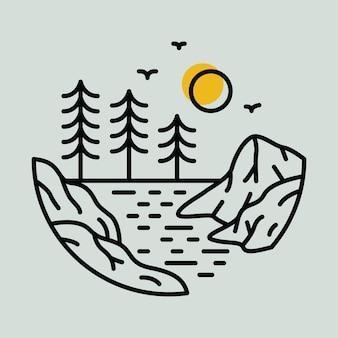 Conception de t-shirt d'illustration graphique de ligne de falaise de rivière sauvage d'aventure de nature