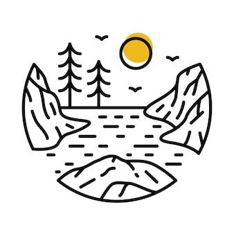Conception de t-shirt d'illustration graphique de ligne de falaise sauvage d'aventure de nature de rivière