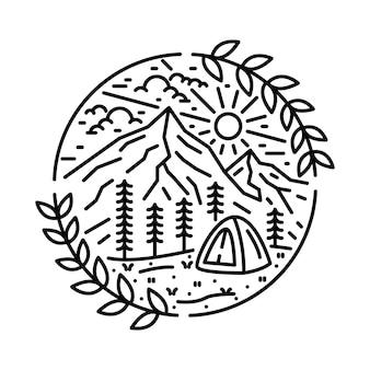 Conception de t-shirt d'illustration graphique de ligne de montagne sauvage d'aventure de nature de camping