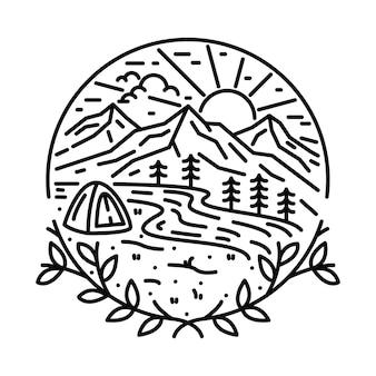 Conception de t-shirt d'illustration graphique de ligne de rivière de montagne sauvage d'aventure de nature de camping