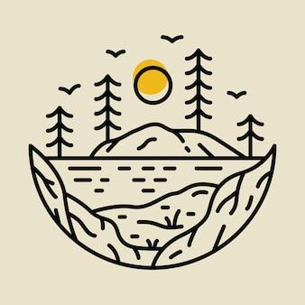 Conception de t-shirt d'illustration graphique de ligne de rivière sauvage aventure nature