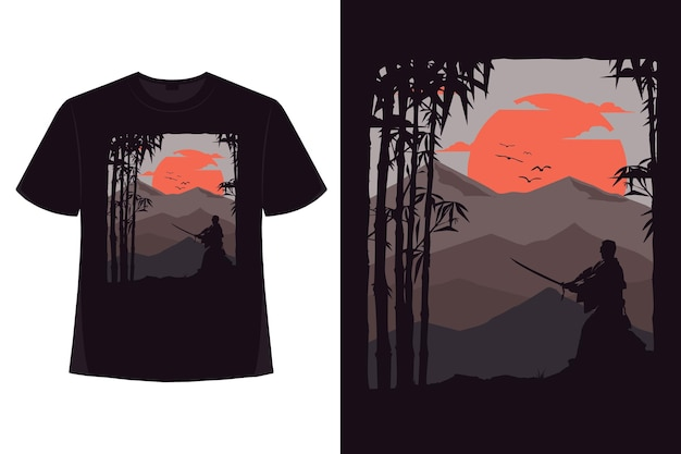 Conception de t-shirt d'illustration plate vintage rétro de montagne de bambou nature