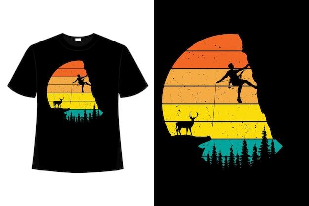 Conception de t-shirt d'illustration de style vintage rétro de pin de montagne de cerf de randonnée
