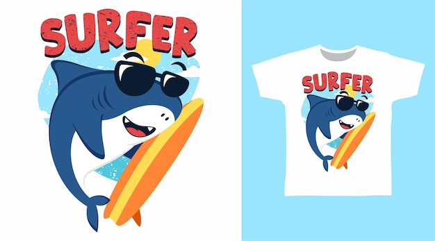 Conception de t-shirt illustration de surfeur de requin mignon