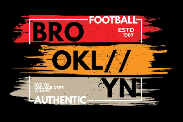 Conception de t-shirt d'illustration vintage rétro de football authentique de brooklyn