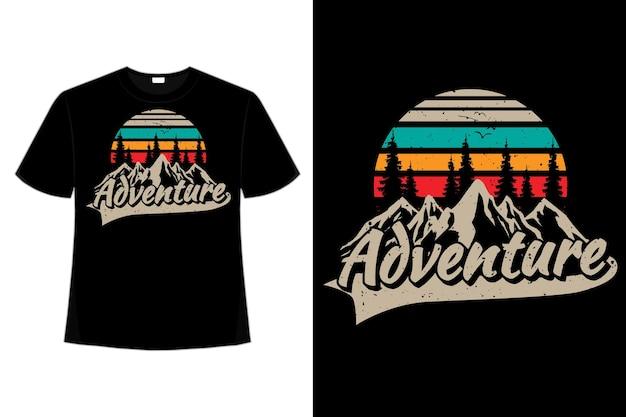 Conception de t-shirt d'illustration vintage rétro de style nature montagne de pin d'aventure