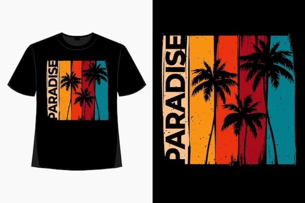 Conception de t-shirt d'illustration vintage rétro de style palmier de plage paradisiaque