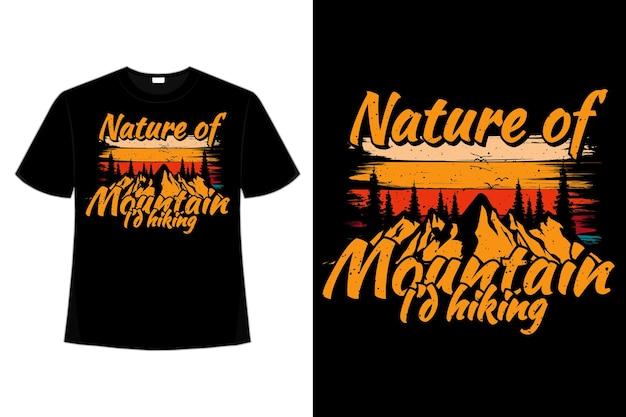 Conception de t-shirt d'illustration vintage rétro de style pin randonnée nature montagne