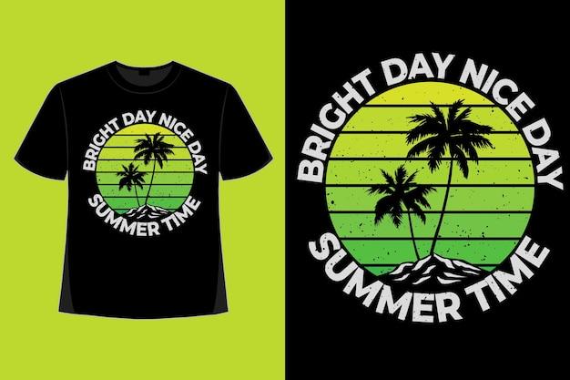 Conception de t-shirt d'illustration vintage rétro de style vert dégradé de l'heure d'été lumineuse