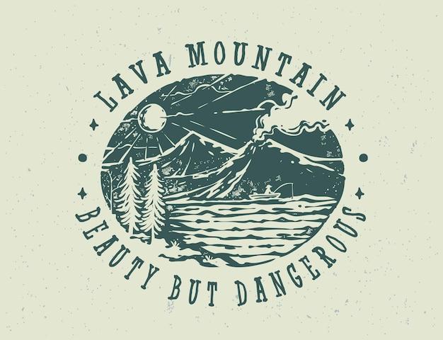 La conception de t-shirt d'insigne de montagne de lave vintage