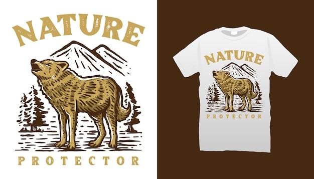 Conception de t-shirt de loup de montagne