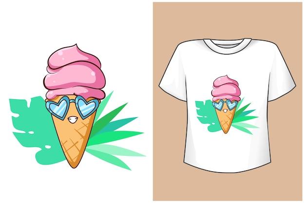 Conception de t-shirt maquette crème glacée drôle dans le dessin animé d'été